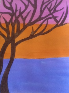 oil pastel and watercolor tree