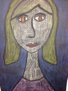 Modigliani oil pastel self portrait