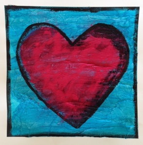 tissue and powder tempera heart