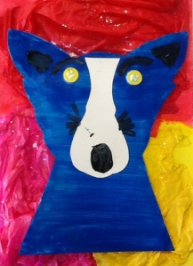 first grade blue dog art lesson