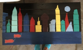 3rd grade city scape auction project